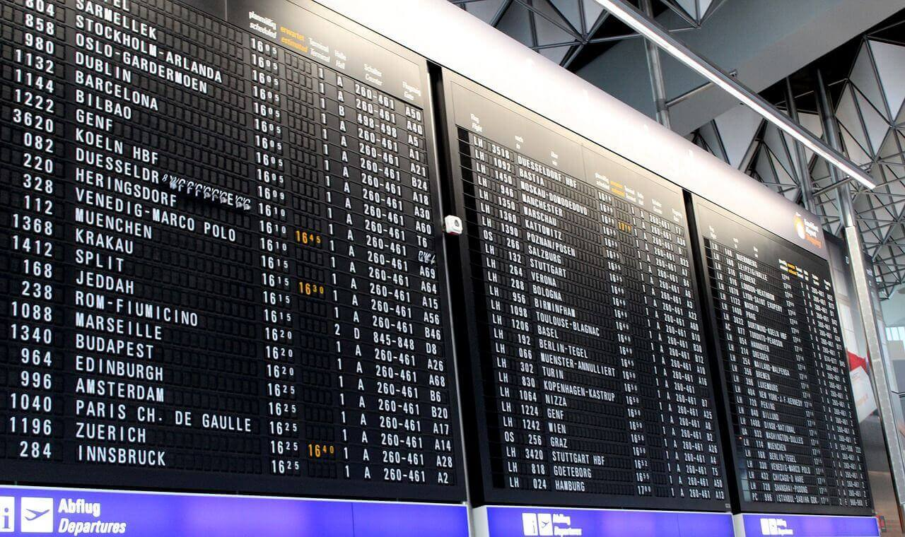 airport flights display panel